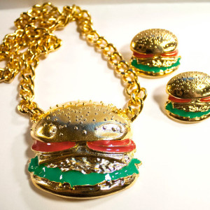 Giant Gold Burger Necklace and Earring Set